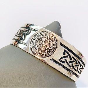 Vintage Silver Mayan Aztec Motif Cuff Bangle